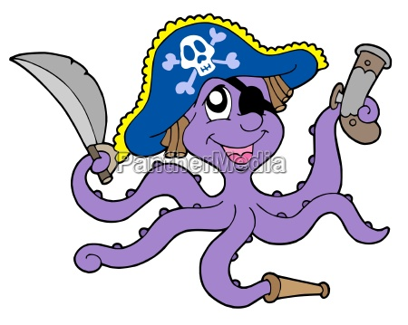 pirate octopus with sabre