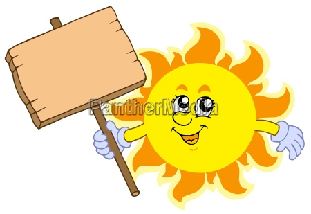 summer sun with wooden table