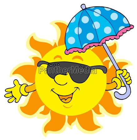 sun in sunglasses with umbrella