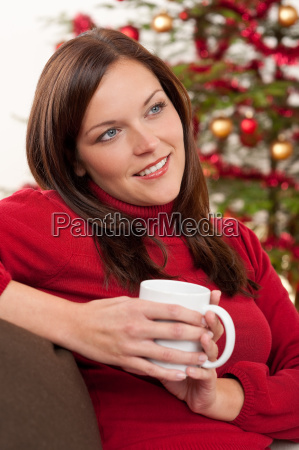 brown hair woman relaxing in front
