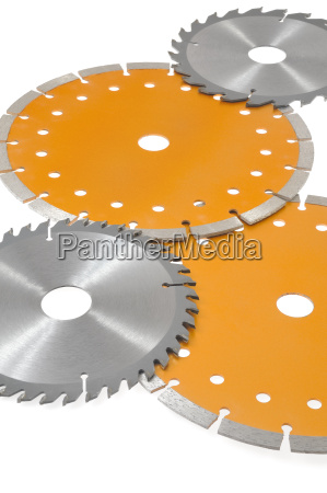 circular saw blades isolated on white