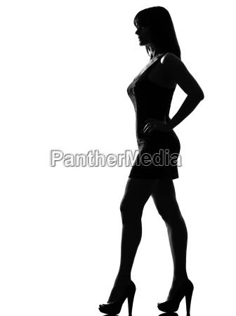stilvolles schattenbildfrauen stehendes profil in voller