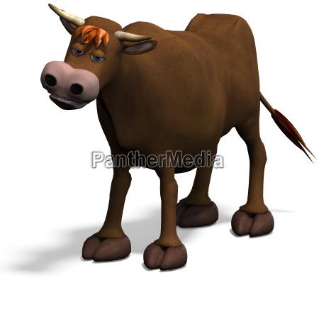 cute and funny cartoon bull