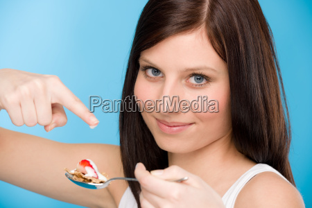 healthy lifestyle woman eat cereal