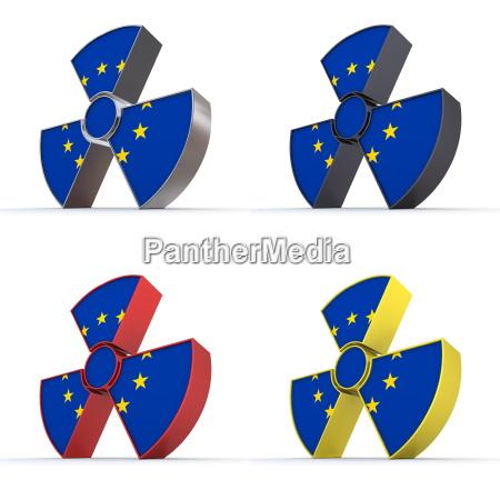 glaenzendes kernsymbol flaggenstruktur der europaeischen union