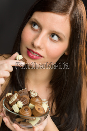 chocolate portrait young woman eat