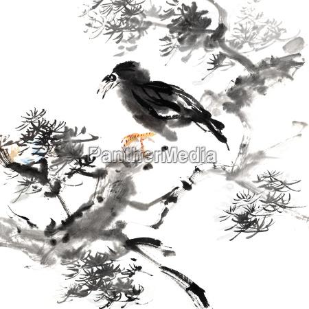 chinese painting of bird