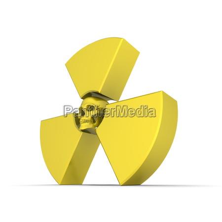 yellow nuclear symbol mit dem schaedel