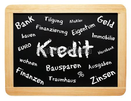 credit konzept tafel property