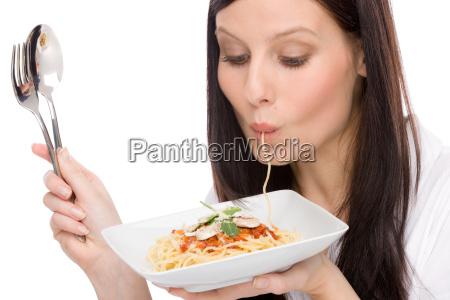 italienisches essen portraet frau essen
