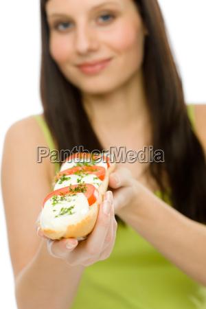 healthy lifestyle woman enjoy caprese