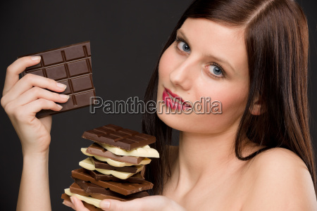 chocolate portrait healthy woman enjoy