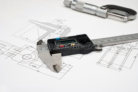 horizontale bild von einem mikrometer und