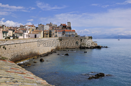 sea and town of antibes in