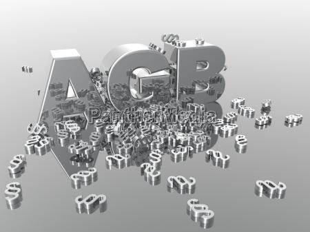 agb symbol chrom schrift glaenzend buchstaben