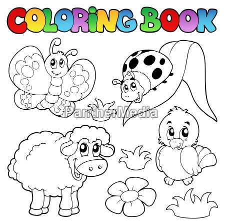 coloring book with spring animals