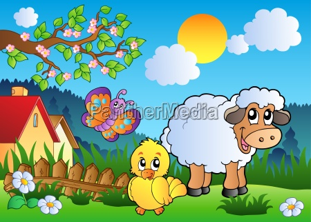 meadow with happy spring animals