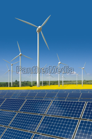 wind turbines and solar panels in