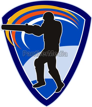 cricket spieler batsman schlagen schild
