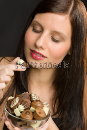 chocolate portrait young healthy woman
