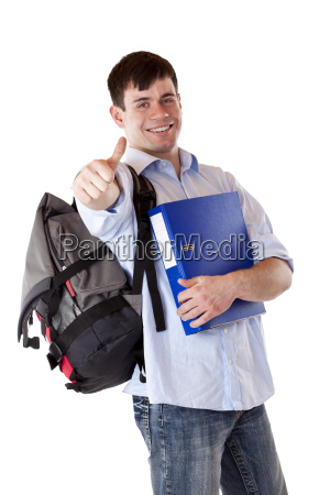 successful happy student showing thumbs up