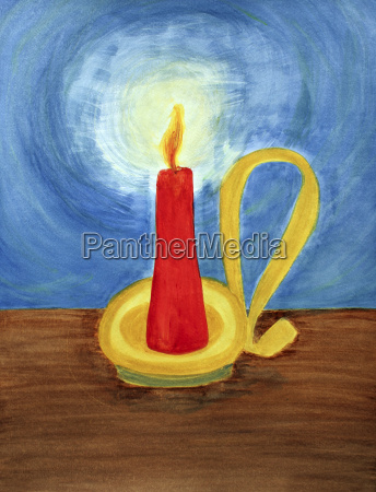 red candle lighting up the dark