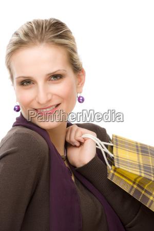 shopping frau mode glueckliche tasche