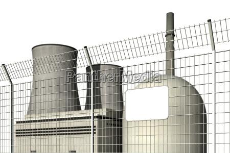 atomkraftwerk hinter einem sperrzaun mit leerem