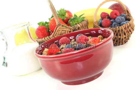 muesli with fresh fruits and nuts