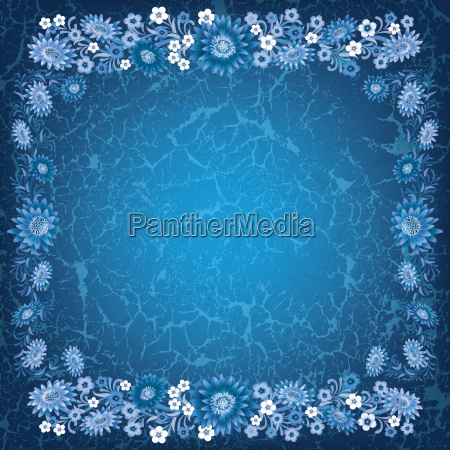 abstract grunge blue background with flowers
