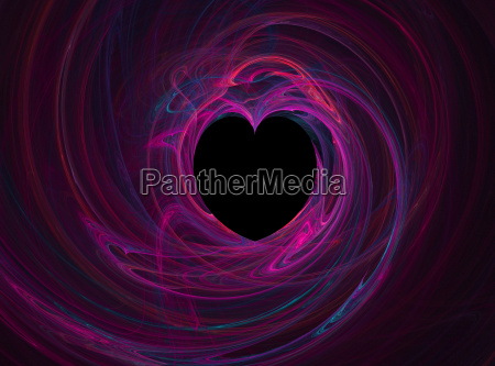 black heart with multi colored swirls