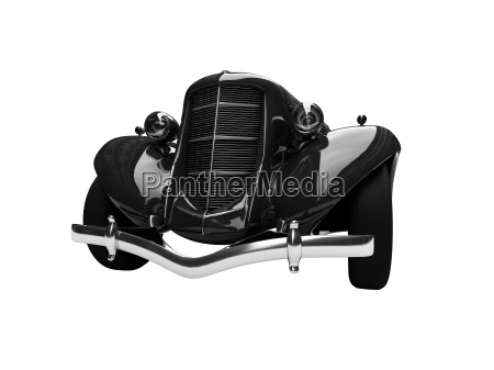 isolated retro black car front view