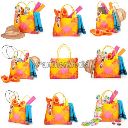 bag with beach items
