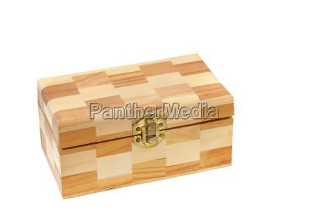 closed wood box isolated