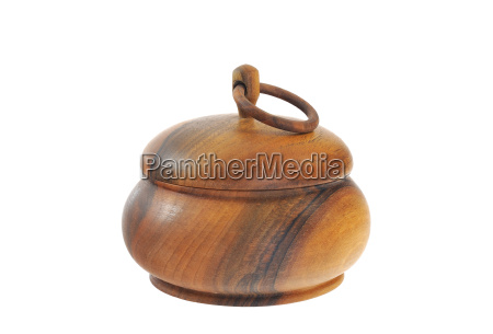old wooden sugar bowl isolated