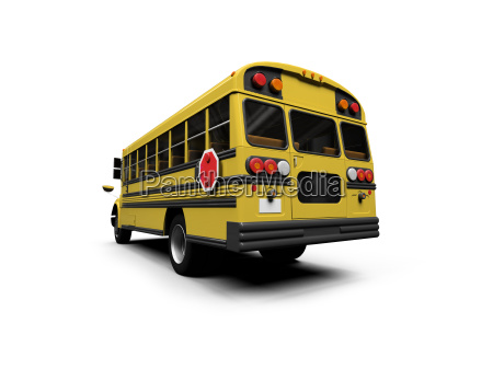 school yellow bus isolated over white