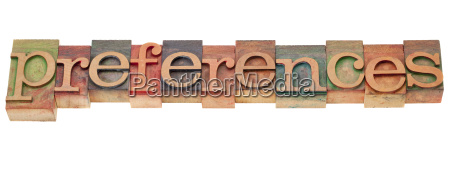 preferences in letterpress type