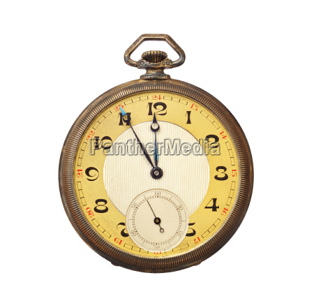 old antique pocket watch isolated on