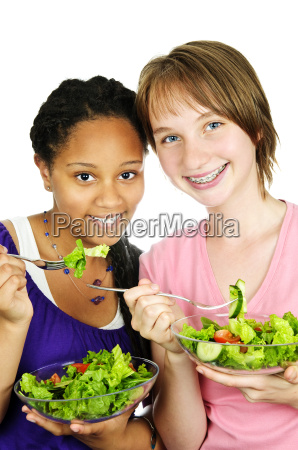 girls having salad