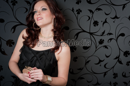 cocktail party woman evening dress hold