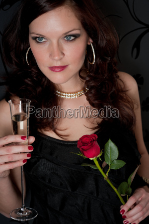 cocktail party woman evening dress champagne