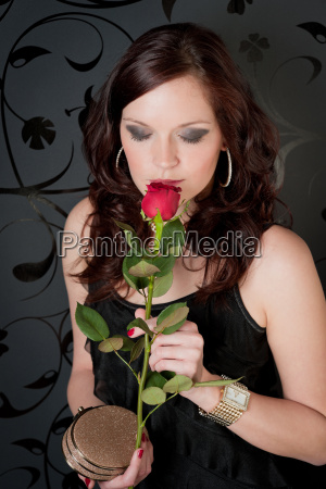 cocktail party woman evening dress rose