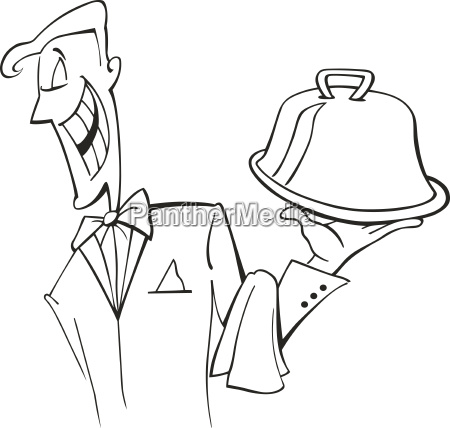 waiter with dish for coloring book