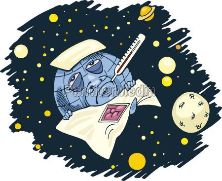 illustrazione globo terra pianeta globale fumetto