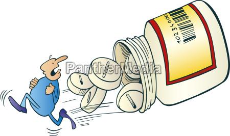 mann weglaufen vor pillen