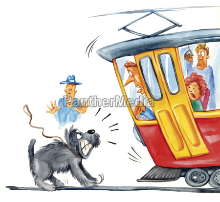 dog attacking the tram