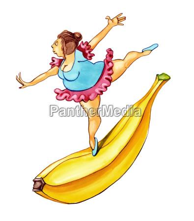UEbergewichtige frau tanzt auf banane