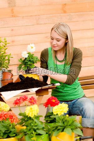 gartenfrau pflanzt fruehlingsblume