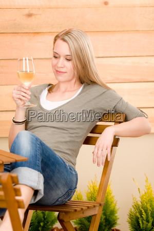 garden happy woman enjoy glass wine