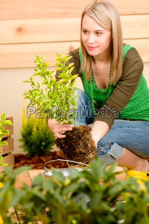 gaertnerin pflanzt auf terrasse